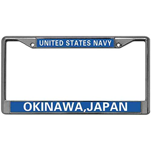 Kingchoo License Plate Frame US Navy Anchor License Plate Holder United States Navy Stainless Steel Metal Car Licenses Plate Frame Standard US Size