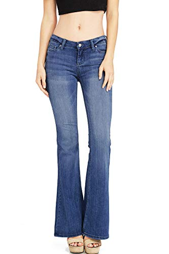 Celebrity Pink Women's Juniors High & Mid Waist Fitted Flare Bottom Jeans (1, Dark Wash)