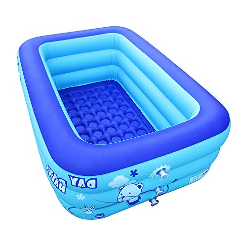 ECOiNVA Inflatable Swimming Pool Hot Tubs Bathtubs Inflated Tubs with Electric Air Pump Inflator Folding Durable Adult Bath Tubs]()
