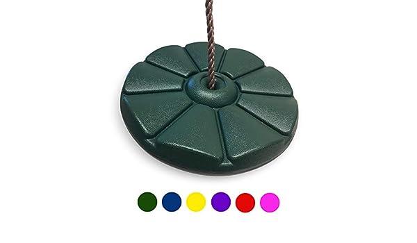 HIKS: Columpio de Disco Redondo en Forma de Bot/ón Color Verde para Ni/ños Tambi/én Disponible en Azul, Amarillo y Rojo