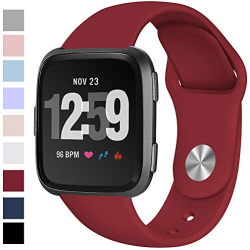 Hamile Soft Bands Compatible for Fitbit Versa, Silicone Replacement Band Straps for Fitbit Versa Smart Watch, Large, Deep Red