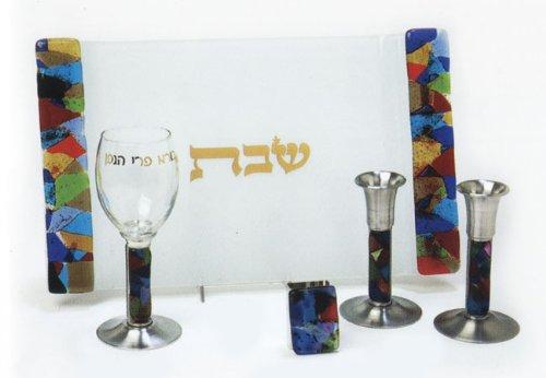 (Fused Glass Shabbat Collection - Rainbow Fusion)