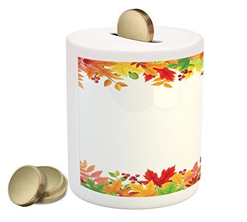 (Lunarable Thanksgiving Piggy Bank, Horizontal Frame with Colorful Fall Season Leaves Rowan Borders Foliage Nature, Printed Ceramic Coin Bank Money Box for Cash Saving, Multicolor)