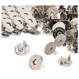 Botones magnéticos – 200 unidades de cierres magnéticos, broches, cierres, botón Kit de reemplazo, perfecto para bolso, bolsa, ropa, piel, plata, 0,55 pulgadas de diámetro