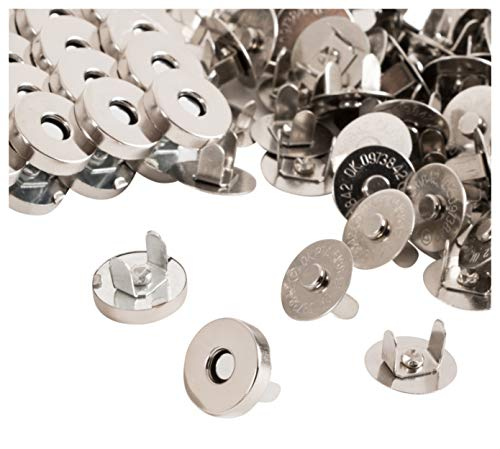 (Magnetic Buttons - 200-Pack Magnetic Clasps, Snaps, Fasteners, Button Replacement Kit, Perfect for Purse, Bag, Clothes, Leather, Silver, 0.55 Inches Diameter)