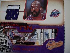 (2001-02 FLEER AUTHENTIX GAME JERSEY KARL MALONE ,JAZZ !! BOX 10)