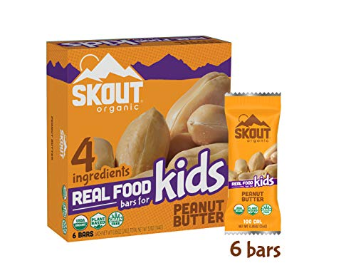 Skout Organic Real Food Bars for Kids – Peanut Butter – Vegan Snacks – Plant Based Bars – Non-GMO – Gluten Free, Dairy Free, Soy Free – No Sugar Added – 0.85 oz (6 Count)