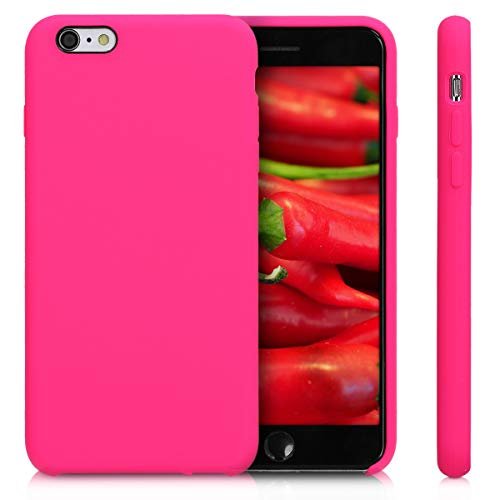 kwmobile TPU Silicone Case Compatible with Apple iPhone 6 Plus / 6S Plus - Soft Flexible Rubber Protective Cover - Neon Pink