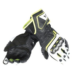 Dainese Carbon D1 Long Motorcycle Gloves Black/White/Fluorescent Large