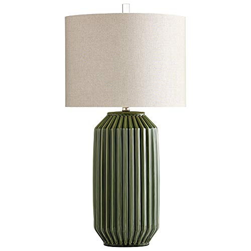 Ribbed Green Ceramic Table Lamp Mid Century Modern with Shade