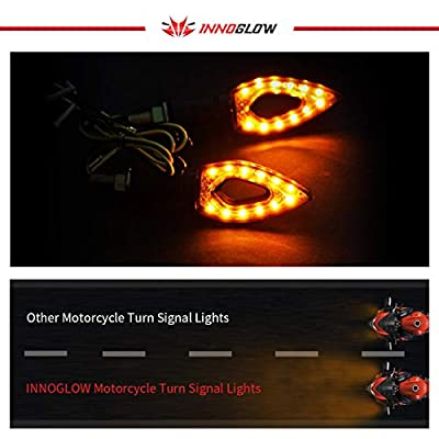 INNOGLOW Motorcycle Turn Signals Lights 12V Universal Motorbike Turn Signal Indicator Blinker Amber Light Lamp for Yamaha Honda Suzuki Kawasaki (2 PCS): Automotive