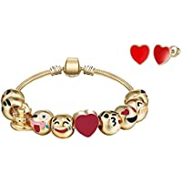 Big Mo's Toys Girls Bracelet - Emoji Charm Bracelets and Earrings Jewelry Set Gift for Girl