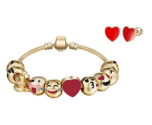 Big Mo's Toys Girls Bracelet - Emoji Charm Bracelets and Earrings Jewelry Set Gift for Girl -