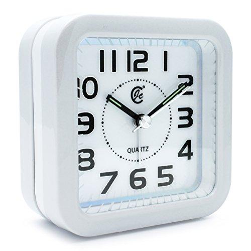 JCC Music Alarm sound silent LED night light Quartz Analog non ticking sweep second hand bedside alarm clock (White)