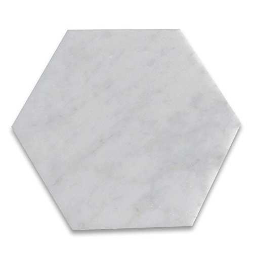 Carrara White Italian Carrera Marble Hexagon Tile 6 inch Polished -100 pcs by Stone Center Online