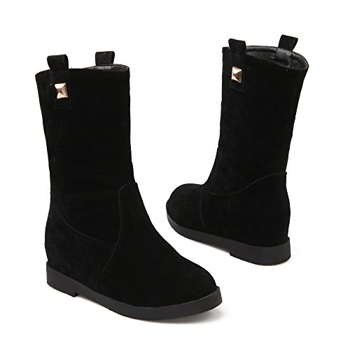 Boots Ankle Boots Flat Black Warm Womens Snow Fur Red Black AIWEIYi Winter 41vqwxv