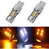 JIE Carall 7443 T20 switchback dual color white amber led turn signals brake lights bulb 5730 Chipsets 20SMD replacement exterior backup tail light Projector 12V(pack of 2)