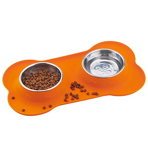 Super Design Double Bowl Pet Feeder Stainless Steel Food Water Bowls with No Spill Silicone Mat for Dogs Cats