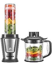 KotiCidsin Blender, Blende Smoothie, Mixeur Multifonctionnel 2 en 1 pour Smoothies, Milk-Shake, Jus, Tasse Portable de 570ml et Hachoir de 1.2L, Tritan Sans BPA, Acier Inoxydable, Gris