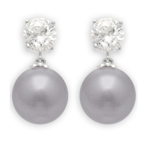 JanKuo Jewelry Rhodium Plated Gray Color Simulated Pearl with CZ Dangling ()