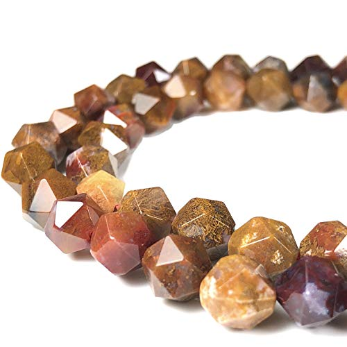 [ABCgems] Mexican Aqua Nueva Agate (Exquisite Matrix) 8mm Precision-Star-Cut Beads for Beading & Jewelry Making (Aqua Agate)