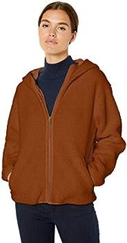 Amazon Brand - Daily Ritual Women's Teddy Bear Fleece Hooded Zip Ja