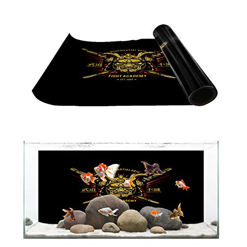 Fantasy Star Aquarium Background Fight Academy Japan Samurai Fish Tank Wallpaper Easy to Apply and Remove PVC Sticker Pictures Poster Background Decoration 20.4