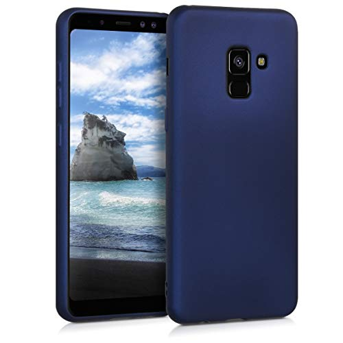 kwmobile TPU Silicone Case Compatible with Samsung Galaxy A8 (2018) - Soft Flexible Protective Phone Cover - Metallic Blue