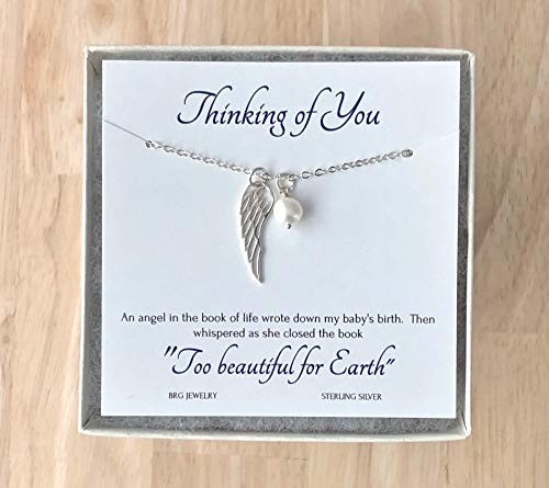Too Beautiful for Earth Miscarriage Necklace June Birthstone ~ Angel Wing Necklace ~ Miscarry Sympathy Gifts (Too Necklace Beautiful For Earth)