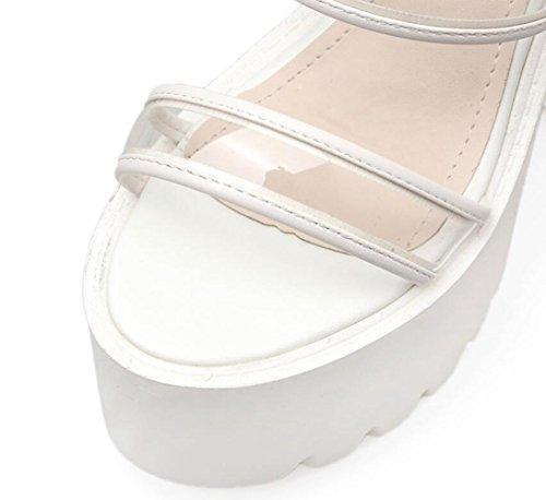 Tacones Verano Sandalias Artificial Altos Las White Chunky Mujeres De Transparente Linyi Señoras Abierta Punta Heel Plataforma Pu Impermeable 5wnHOa8xwq