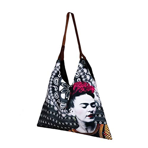 Akitai Young Frida Kahlo Black Canvas Pailsey Print Triangle Tote Bag Women Purse