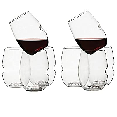 Govino Dishwasher Safe Flexible Shatterproof Recyclable Wine Glasses, 16-ounce