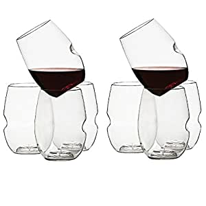 Govino Dishwasher Safe Flexible Shatterproof Recyclable Wine Glasses, 16-ounce, Set of 8