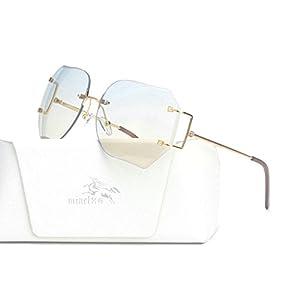 MINCL/Hot Oversized Rimless Sunglasses Women Clear Lens Eyewear (gold-light blue, gold-light blue)