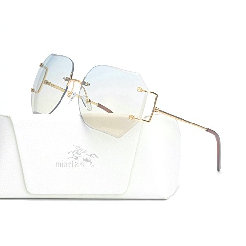 MINCL/Hot Oversized Rimless Sunglasses Women Clear Lens Eyewear (gold-light blue, gold-light - Sunglasses Rimless Womens