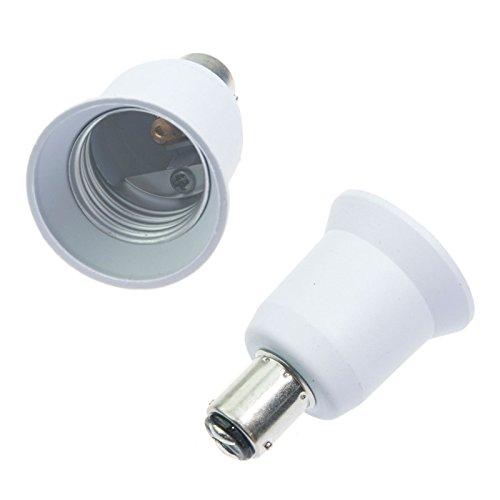 5PCS PBT BA15D to E26 Screw Light Socket Adapter White La...