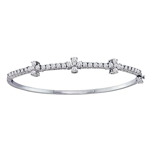 - 14kt White Gold Womens Round Diamond Pave-set Bangle Bracelet 1-1/2 Cttw