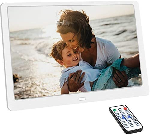 10.1 Inch Digital Photo Frame with 1920 1080 HD IPS Screen Remote Control Display Picture Music Video Calendar Alarm Timer on Off by SD Memory Card U Disk Support 64G USB Device White