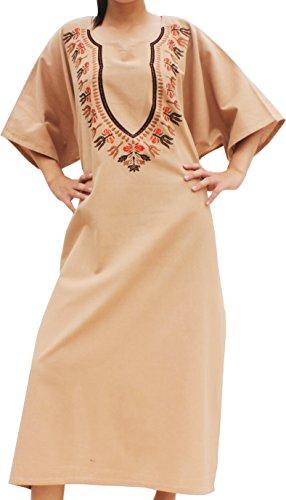 Raan Pah Muang Boubou Afrikan Throw Over Dress in Warm Cotton Embroidered Dashiki, Medium, Light Brown ()