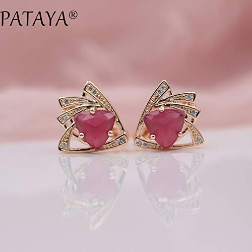 Rose Gold, Multicolor, Triangular Cubic Zirconia Dangle Earrings for Women Wedding