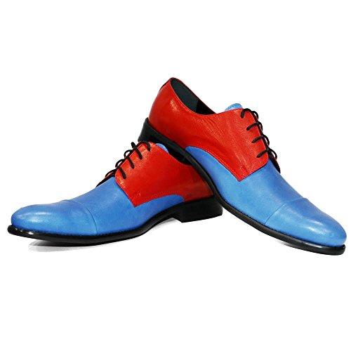 Modello Cobalto - Handgemachtes Italienisch Leder Herren Blau Oxfords Abendschuhe Schnürhalbschuhe - Rindsleder Weiches Leder - Schnüren