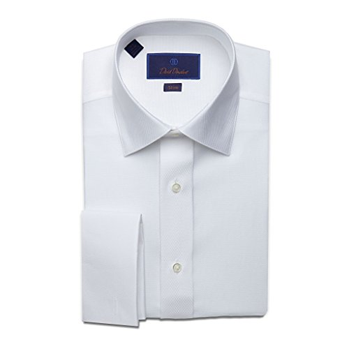Pattern Shirt Diamond (David Donahue Men's Slim Fit Diamond Pattern Formal Dress Shirt, White, 16.5