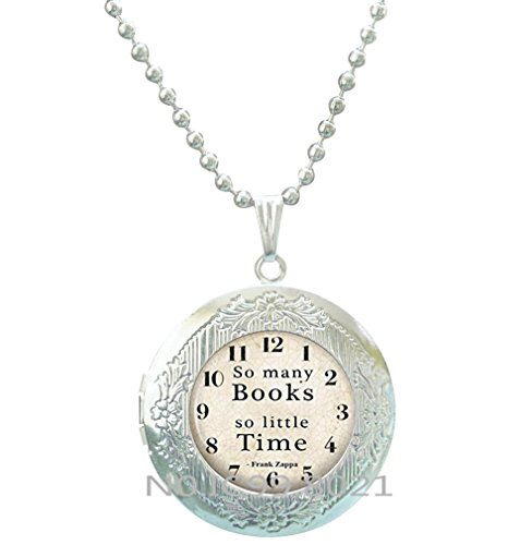 Lovers Locket - Book Locket Pendant Book jewelry Librarian jewelry So many books So little time Bookworm Locket Necklace Glass Locket Necklace Book lover Locket Necklace Reader gift.XT004 (A)