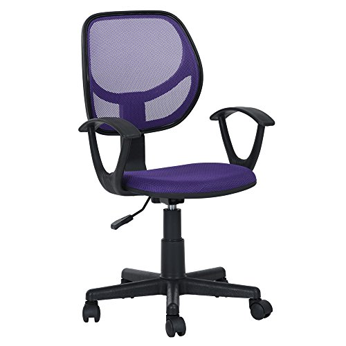 GreenForest Mid-Back Mesh Task Office Chair Swivel Computer Desk Chair with Arms, purple-Armchair (Computer Purple Chair)