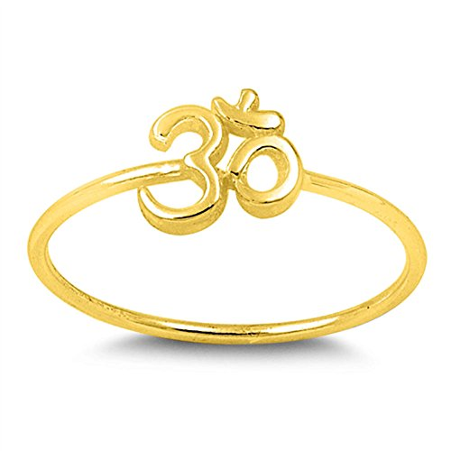 - Gold-Tone Hindu Om Sign Yoga Ring New .925 Sterling Silver Band Size 6