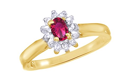 Jewel Zone US Simulated Ruby & White Natural Diamond Halo Engagement Ring in 10k Solid Gold (0.43 Cttw) (2 Carrot Diamond Engagement Ring)