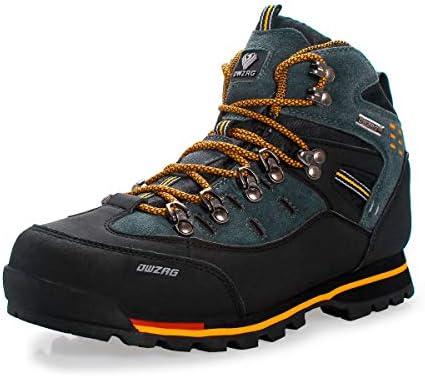 DWZRG Men's Waterproof Leather mid Hiking Boots Outdoor Non-Slip Lightweight Trekking Sneaker