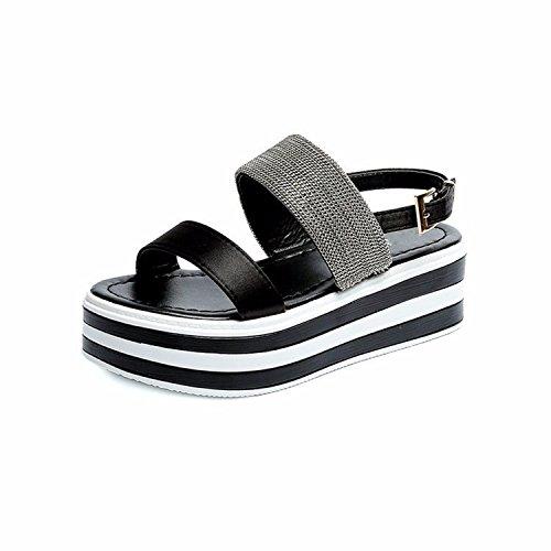 GTVERNH Mujer Zapatos/Sandalias De Verano Hembra Hebillas Fondo Grueso Muffin Sandalias. Thirty-nine