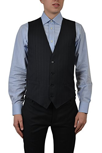 Dolce & Gabbana 100% Wool Navy Four Buttons Striped Men's Vest US 38 IT 48 ()