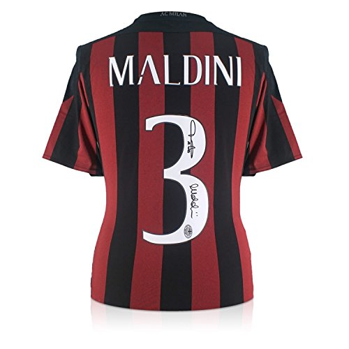 (Paolo Maldini Signed 2015-16 AC Milan Home Soccer Jersey | Autographed Italy Serie A Memorabilia)